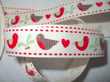 16mm Robin Partridge Mistletoe Grosgrain  Ribbon